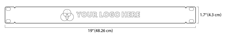 The dimensions for the custom-branded 1U server rack