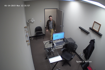 A picture taken by the 5MP Wi-Fi Cube Camera after I walked into my office and tripped the PIR motion detector.
