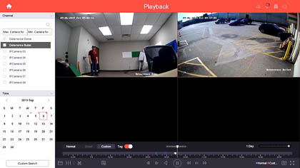 You can also see the smart events from your active deterrence security camera's playback menu from an NVR