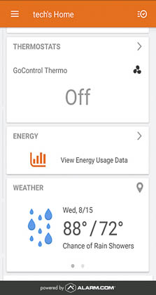 A screenshot from the Alarm.com mobile application, used to control your GC3 or GC2 panel remotely.