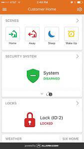 A screenshot of the home screen of the Alarm.com application.