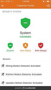 Arm/Disarm Screen