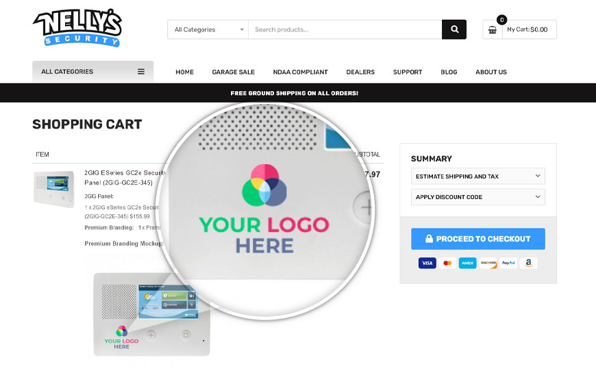 Preview your branded alarm panel on your cart page!