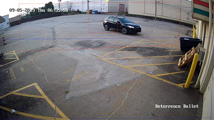 Our active deterrence security cameras recognize both vehicle and human motion. This is a picture of a vehicle triggering an event.