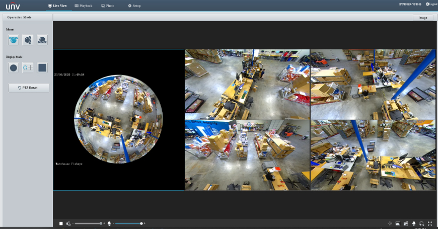 Fisheye Web Interface (PTZ Operation Mode)