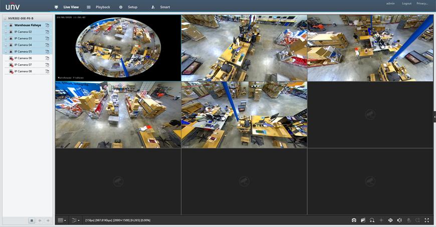 NVR Web Interface (Fisheye + 4 PTZ Channels)