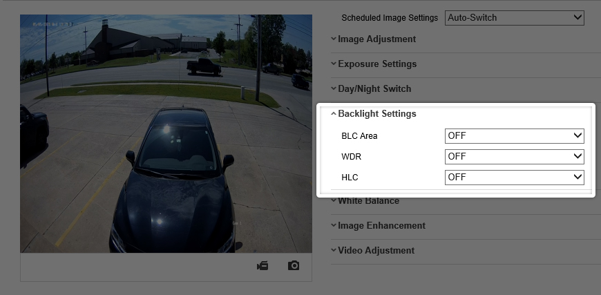 BLC and HLC settings on an H-Series Camera