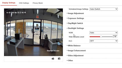 The HDMI security camera's WDR setting