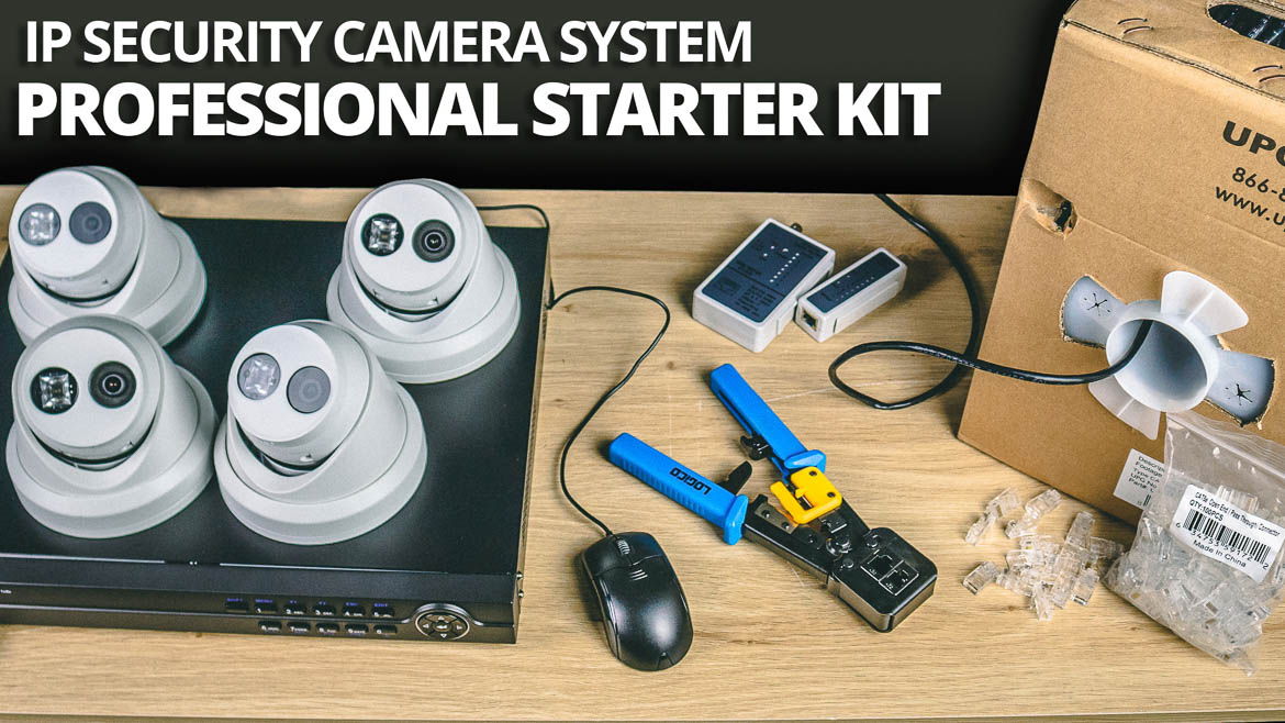 The IP Security Camera Surveillance Starter Kit is ideal for anyone wanting to install a complete four camera security system