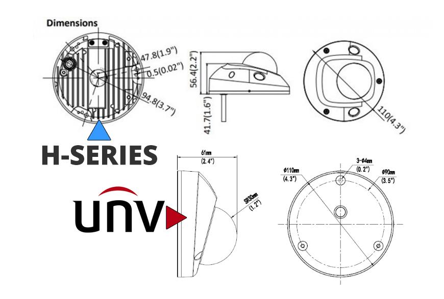 H-Series and Uniview Mini Vandal Dome Dimensions