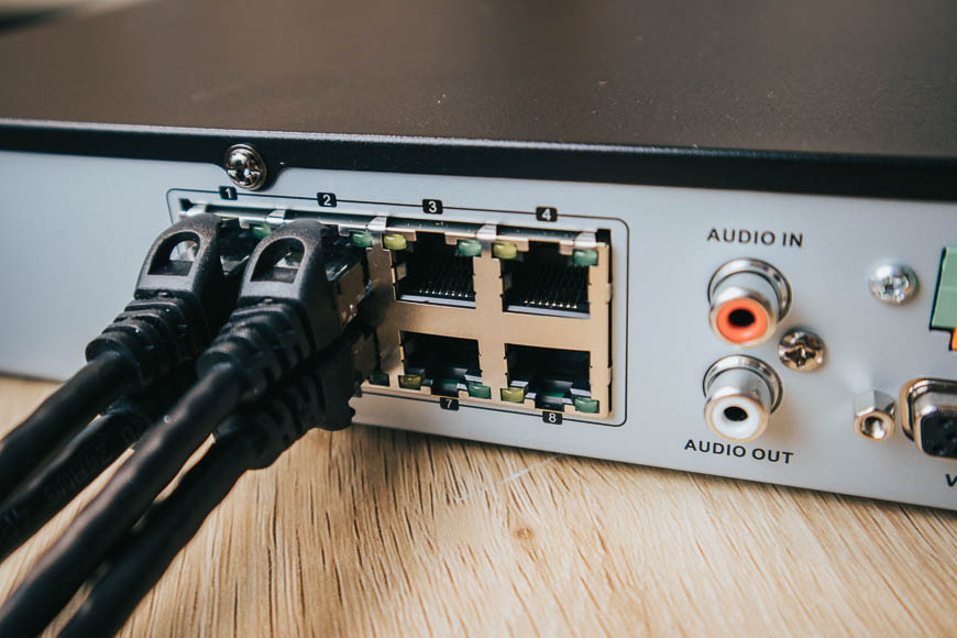 Our NVRs have a PoE switch in the back for quick, convenient, and instant plug-and-play video.