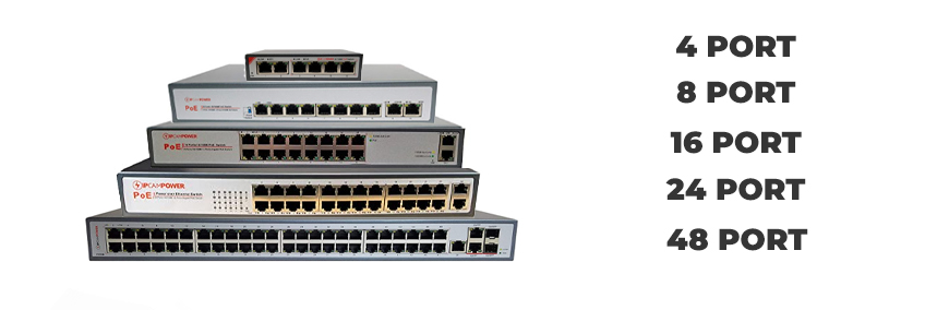 We have PoE switches ranging from four ports to forty-eight ports