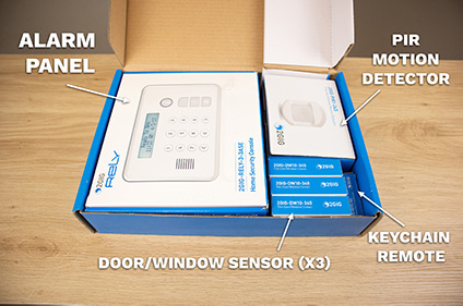 The Rely Panel comes with everything you need to put together a complete home alarm system.