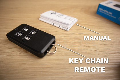 The Rely Panel comes with a keychain remote