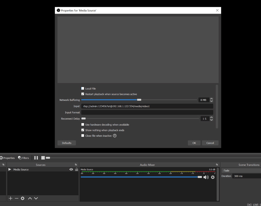 Setting up the RTSP feed as a media input