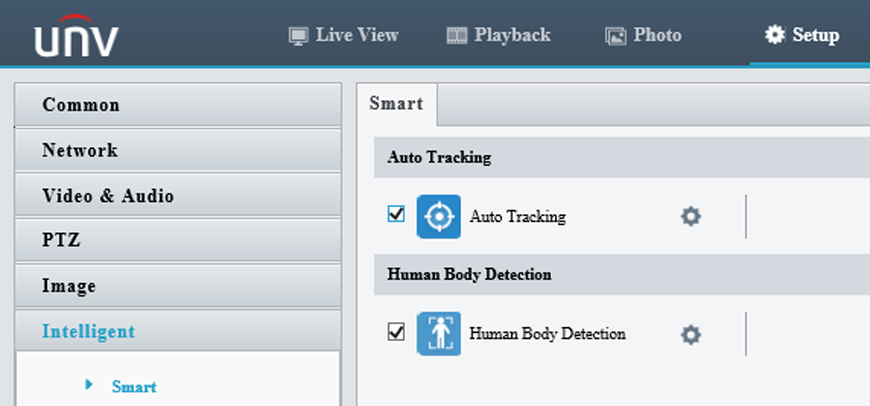 Two intelligent events: autotracking and human body detection
