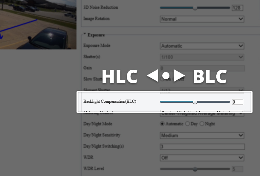 Uniview HLC and BLC slider