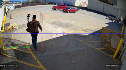 An example of a UNV Fixed Lens line crossing event