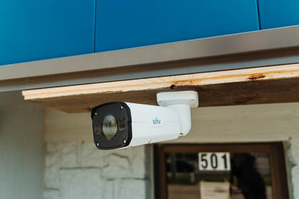The uniview motorized lens bullet ip security camera installed