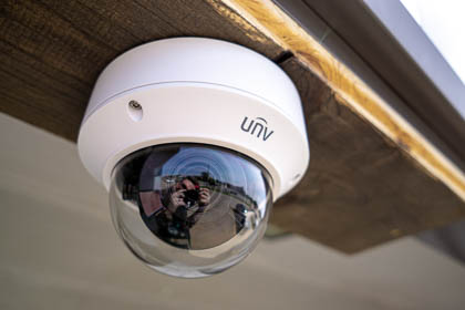 The uniview motorized lens vandal dome ip security camera installed