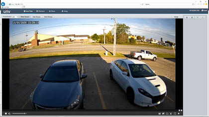 The live view on a Uniview security camera web interface