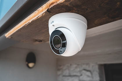 The Uniview motorized lens turret ip security camera installed