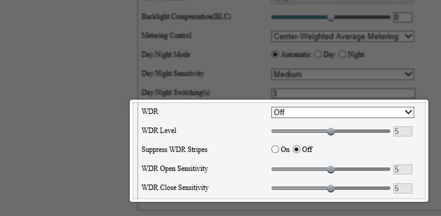 Uniview's WDR settings