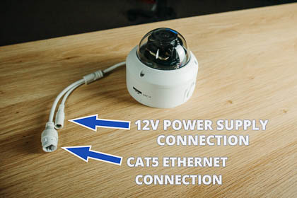 The camera has two cable connections: one for the cat5 Ethernet connection and the other for a 12V power supply.