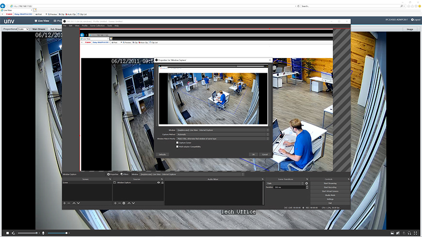 Doing a Window capture or a Display capture will let you stream your camera's Live View via the web interface